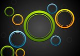 Colorful circles on dark background