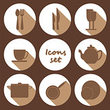 Round icons set of kitchen utensil in flat design style - colore