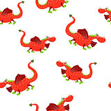 Seamless pattern of dragons