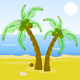 Cartoon beautiful beach with palm tree