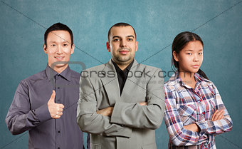 Asian team and male in suit