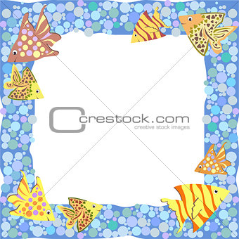 Frame with colorful cartoon fishes