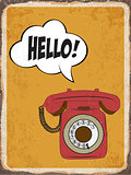 "Retro metal sign "" Hello"""
