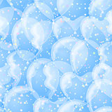 Balloon seamless background, white and blue