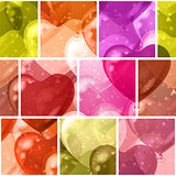 Seamless background with balloon hearts