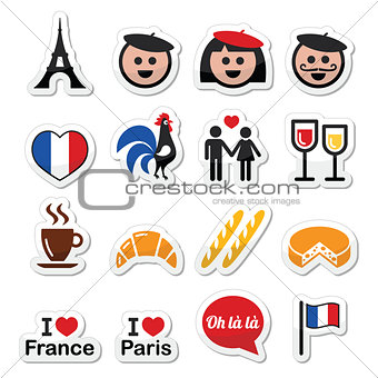 France, I love Paris vector icons set