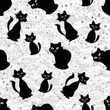Seamless background with cats silhouettes