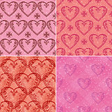 Set of valentine hearts seamless patterns
