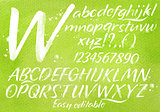 Modern alphabet green background.