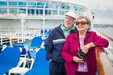 Senior Couple Enjoying The Deck of a Cruise Ship