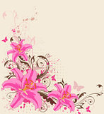 Pink lily and butterflies