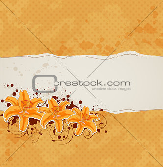 Background with lily and orange paper