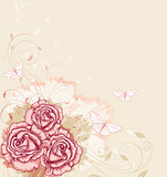 Decorative  background with pink roses