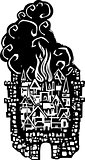 Woodcut Burning City