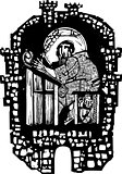 Woodcut Monk in Monastery