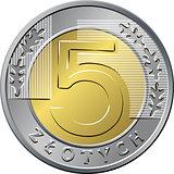 reverse Polish Money five zloty coin