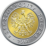 obverse Polish Money five zloty coin