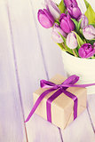 Purple tulip bouquet and gift box