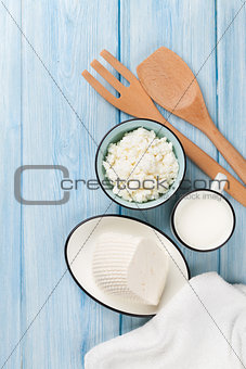 Dairy products. Milk, cheese and curd cheese