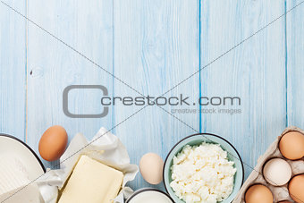 Dairy products. Milk, cheese, egg, curd cheese and butter
