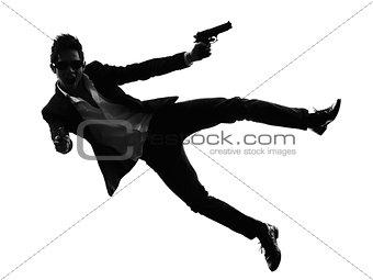 asian gunman killer jumping shooting  silhouette