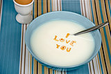 love message in cereal bowl