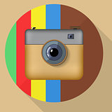 Hipster colorful realistic photo camera icon with shadow.