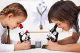 Young kids in science lab study samples under the microscope-foc