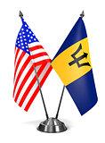 USA and Barbados - Miniature Flags.