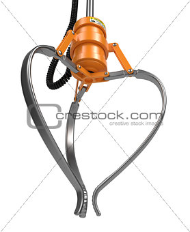 Closed Metal Robotic Claw in Orange Color.