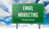 Email Marketing on Green Highway Signpost.