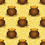 Seamless background, pots with gold