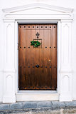 Brown door with christmas decoration