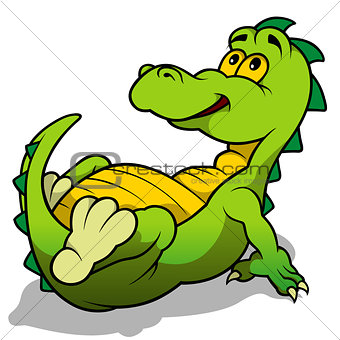 Green Dino Laying
