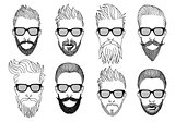 hipster faces with beard, vector set