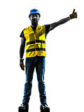 construction worker signaling safety vest raise boom silhouette