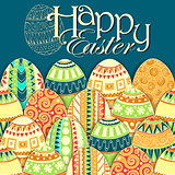 Easter background with colorful doodle eggs.