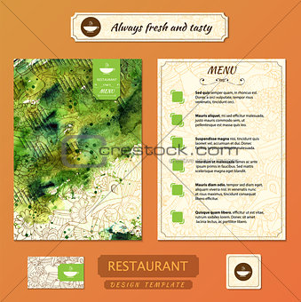 Corporate identity. Menu and Business cards for cafe or restaurant.