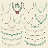 Vector Colorful Hand Drawn Floral Wreaths, Laurels