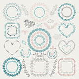 Vector Colorful Hand Drawn Floral Frames, Wreaths