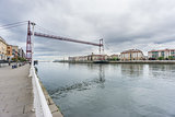 Ultra Wide view of the Bizkaia suspension bridge and promenade