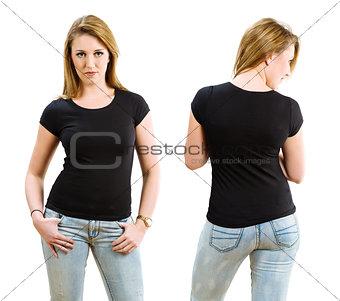 Blond woman wearing blank black shirt