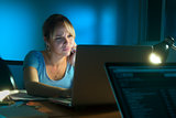 Disappointed Frustrated Woman Working On PC At Night