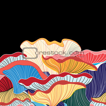 abstract background of different fungi