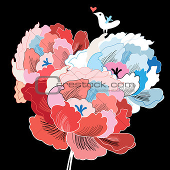 bright flowers and bird in love