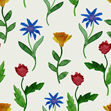Vector Watercolor Summer Seamless Pattern