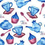 Vector Watercolor Seamless Tea Time Pattern