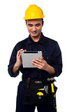 Field worker accessing touch pad