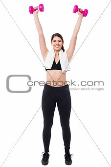 Fitness trainer working out