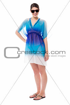Cute young sensual model in trendy outfit